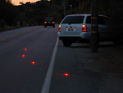 ELF LED-Flares placed on the road